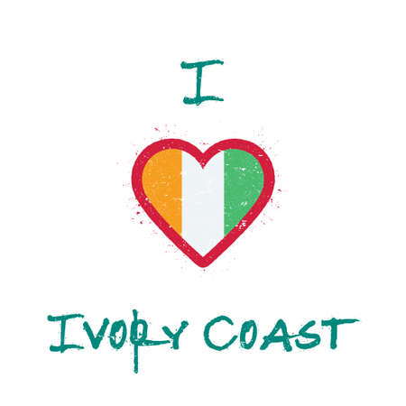 I love Cote D'Ivoire t-shirt design. Ivorian flag in the shape of heart on white background. Grunge vector illustration.