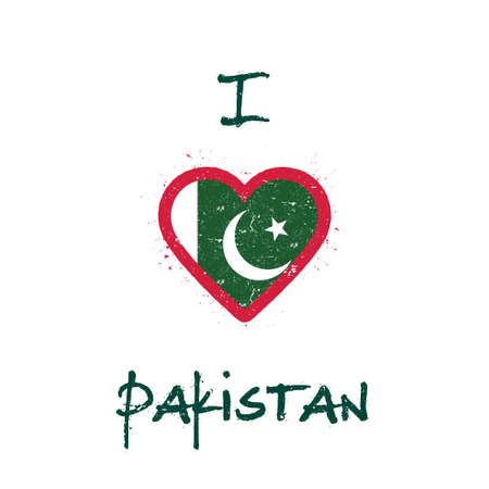 I love Pakistan t-shirt design. Pakistani flag in the shape of heart on white background. Grunge vector illustration. Illustration