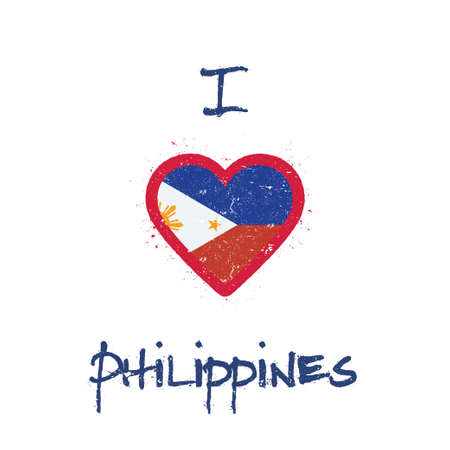I love Philippines t-shirt design. Filipino flag in the shape of heart on white background. Grunge vector illustration.