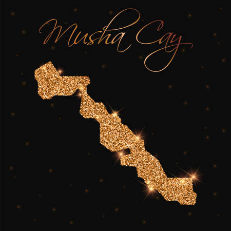 Musha Cay map filled with golden glitter. Luxurious design element, vector illustration.
