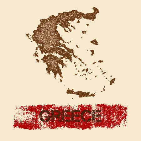 Greece distressed map. Grunge patriotic poster with textured country ink stamp and roller paint mark, vector illustration. Illustration