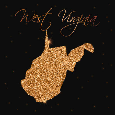 West Virginia state map filled with golden glitter. Luxurious design element, vector illustration.
