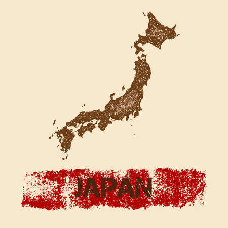 Japan distressed map. Grunge patriotic poster with textured country ink stamp and roller paint mark, vector illustration. Illustration