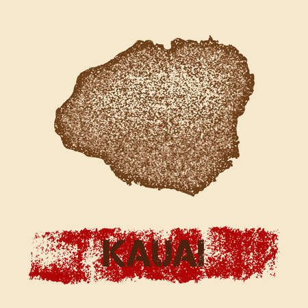 Kauai distressed map. Grunge patriotic poster with textured island ink stamp and roller paint mark illustration. Illustration