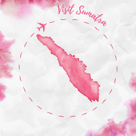 Sumatra watercolor island map in red colors. Visit Sumatra poster with airplane trace and hand painted watercolor Sumatra map on crumpled paper.