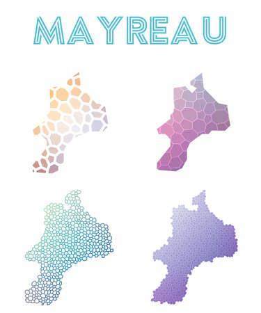 Mayreau polygonal island map. Mosaic style maps collection.