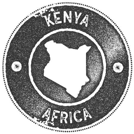 Kenya map vintage stamp.