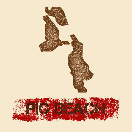 Pig Beach distressed map. Grunge patriotic poster with textured island ink stamp and roller paint mark illustration. Illustration