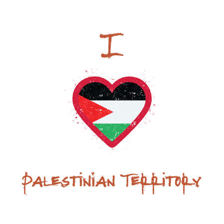 I love Palestine, State of t-shirt design. Palestinian flag in the shape of heart on white background. Grunge vector illustration.