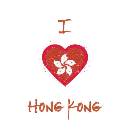 I love Hong Kong t-shirt design. Chinese flag in the shape of heart on white background. Grunge vector illustration.