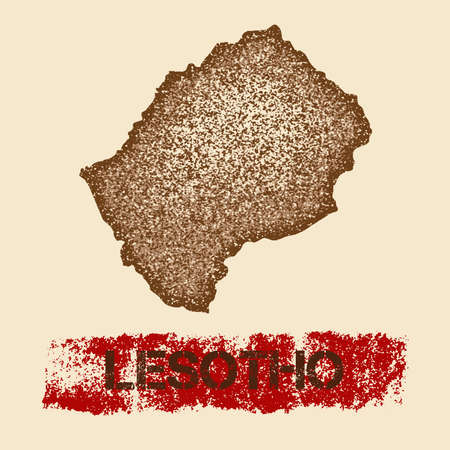 Lesotho distressed map. Grunge patriotic poster with textured country ink stamp and roller paint mark, vector illustration. Illustration