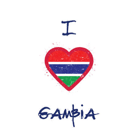 I love Gambia t-shirt design. Gambian flag in the shape of heart on white background. Grunge vector illustration.