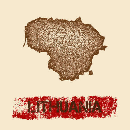 Lithuania distressed map. Grunge patriotic poster with textured country ink stamp and roller paint mark, vector illustration.