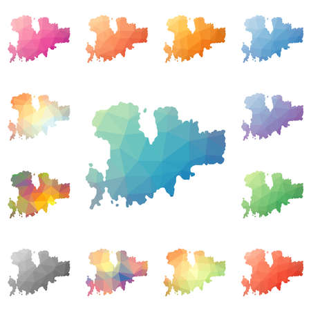 Mykonos geometric polygonal, mosaic style island maps collection. Bright abstract tessellation, low poly style, modern design. Mykonos polygonal maps for your infographics or presentation.