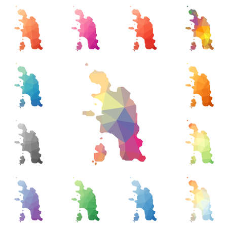 Pangkor Island geometric polygonal, mosaic style island maps collection. Bright abstract tessellation, low poly style, modern design.