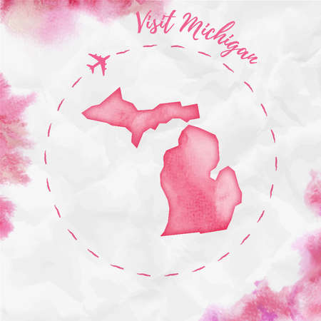 Michigan watercolor us state map in red colors. Visit Michigan poster with airplane trace and handpainted watercolor Michigan map on crumpled paper. Vector illustration.