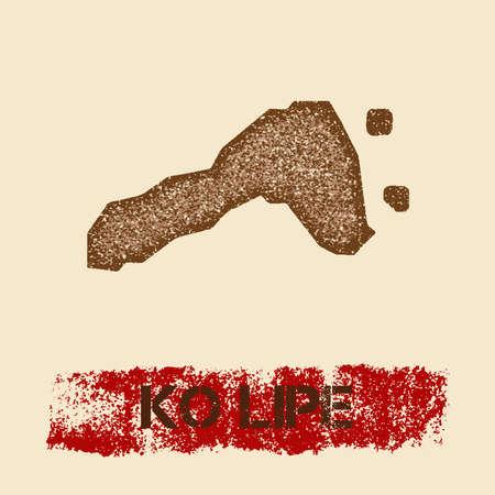 Ko Lipe noodlijdende kaart. Grunge patriottische affiche met het geweven zegel van de eilandinkt en het teken van de rolverf, vectorillustratie. Stock Illustratie