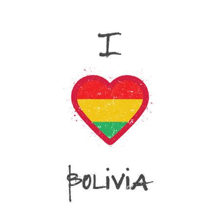 Bandera boliviana en forma de ilustración de corazón. Vectores