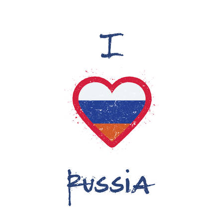 Russian flag in the shape of heart illustration.