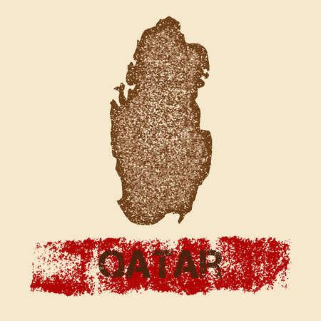 Qatar distressed map patriotic poster illustration.