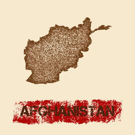Afghanistan distressed map patriotic poster illustration.