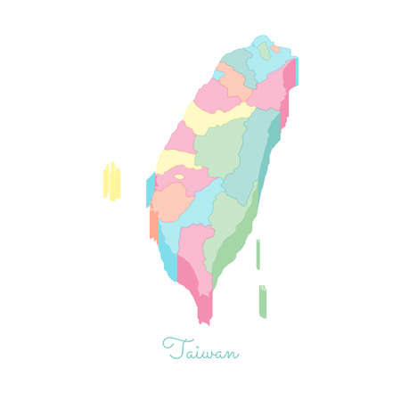 Taiwan region map colorful isometric top view.