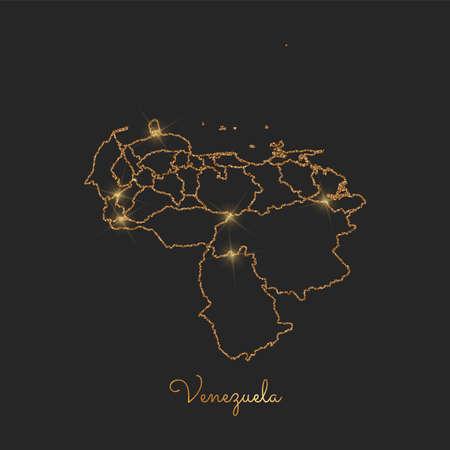 Mapa de la región de Venezuela esquema de glitter dorado con estrellas brillantes.