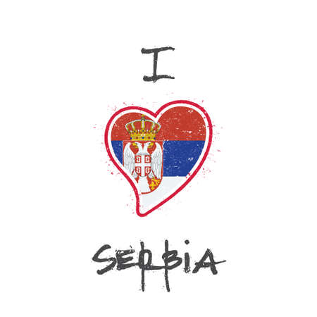 Serbian with flag in the shape of heart illustration.