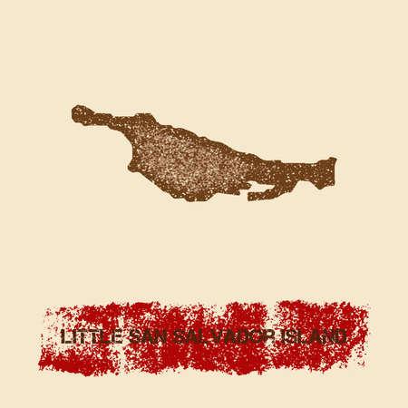 Little San Salvador Island distressed map illustration.