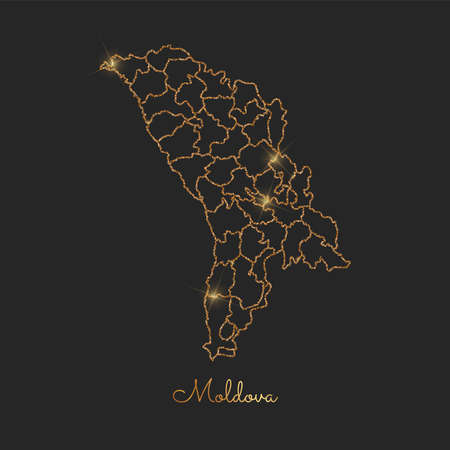 Moldova region map golden glitter outline with sparkling stars.