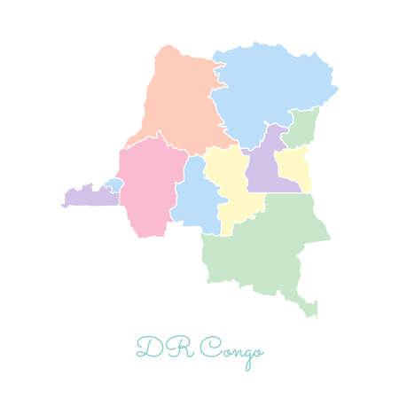 DR Congo region map colorful illustration.