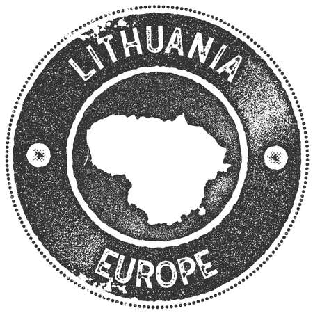 Lithuania map vintage stamp.