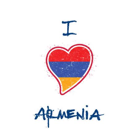 Armenian flag patriotic t-shirt design. Heart shaped national flag Armenia on white background. Vector illustration.