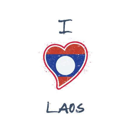 Laotian flag patriotic t-shirt design. Heart shaped national flag Lao Peoples Democratic Republic on white background. Vector illustration. Illustration