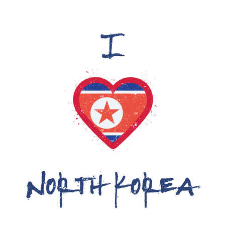 I love Korea, Democratic People's Republic Of t-shirt design. North Korean flag in the shape of heart on white background. Grunge vector illustration.
