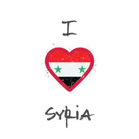 I love Syrian Arab Republic t-shirt design. Syrian flag in the shape of heart on white background. Grunge vector illustration.