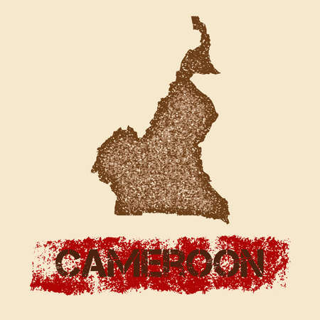 Cameroon distressed map. Grunge patriotic poster with textured country ink stamp and roller paint mark, vector illustration.
