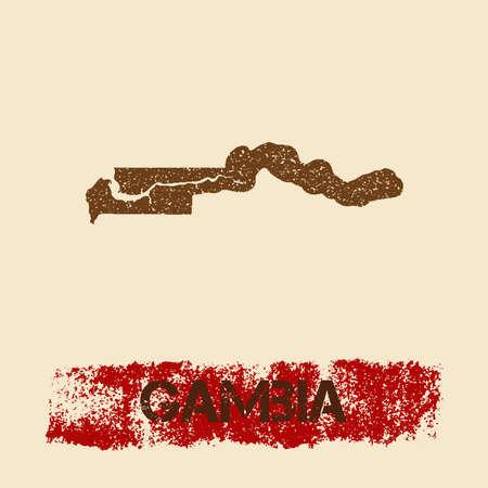 Gambia noodlijdende kaart. Grunge patriottische affiche met het geweven de inktzegel van het land en teken van de rolverf, vectorillustratie.
