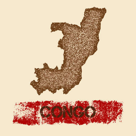 Congo distressed map. Grunge patriotic poster with textured country ink stamp and roller paint mark, vector illustration.