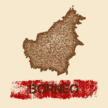 Borneo distressed map. Grunge patriotic poster with textured island ink stamp and roller paint mark, vector illustration.