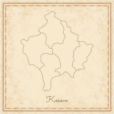 Kosovo region map: stilyzed old pirate parchment imitation. Detailed map of Kosovo regions. Vector illustration.