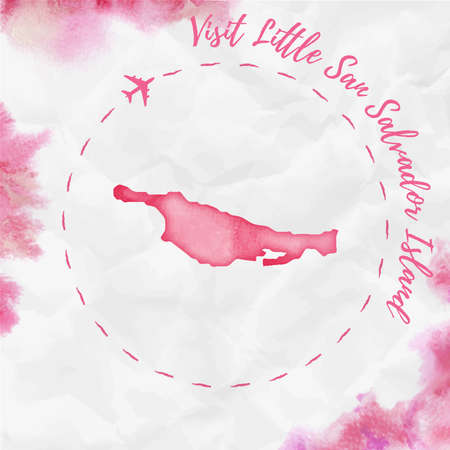 Little San Salvador Island watercolor island map in red colors. Visit Little San Salvador Island poster with airplane trace and handpainted watercolor Little San Salvador Island map on crumpled paper. Illustration
