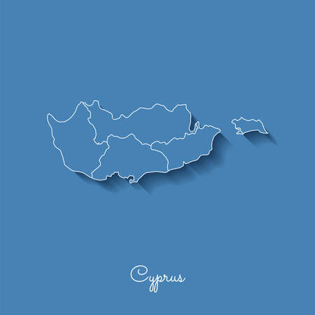 Cyprus region map: blue with white outline and shadow on blue background. Detailed map of Cyprus regions. Vector illustration.