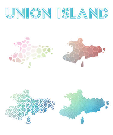 Union Island polygonal island map. Mosaic style maps collection. Bright abstract tessellation, geometric, low poly, modern design. Union Island polygonal maps for infographics or presentation. Illustration