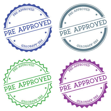 Pre-approved badge isolated on white background. Flat style round label with text. Circular emblem vector illustration.