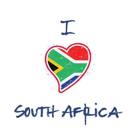South African flag patriotic t-shirt design. Heart shaped national flag South Africa on white background. Vector illustration.