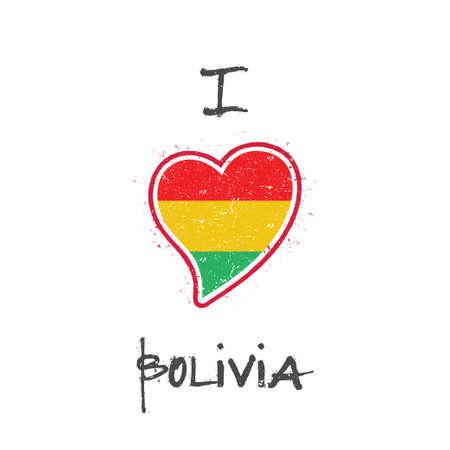 Bolivian flag patriotic t-shirt design. Heart shaped national flag Bolivia on white background. Vector illustration.