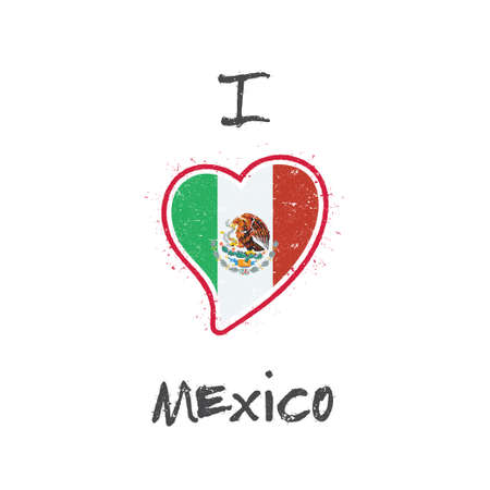 Mexican flag patriotic t-shirt design. Heart shaped national flag Mexico on white background. Vector illustration. Illustration