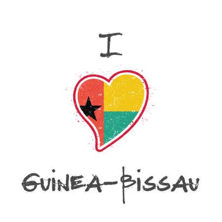 Guinea-Bissauan flag patriotic t-shirt design. Heart shaped national flag Guinea-Bissau on white background. Vector illustration.