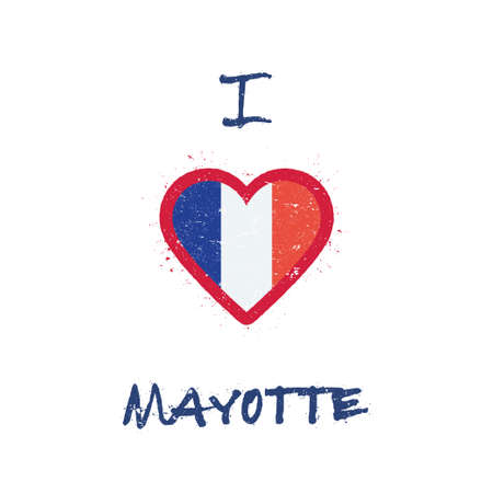 I love Mayotte t-shirt design. French flag in the shape of heart on white background. Grunge vector illustration.